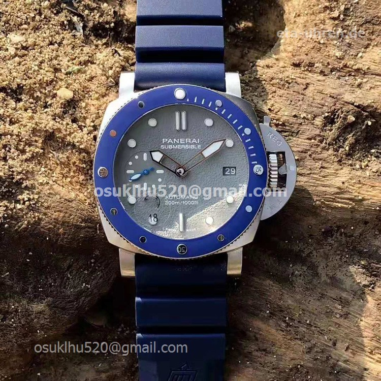 Panerai Submersible 42mm Blaue Keramiklünette Graues Zifferblatt