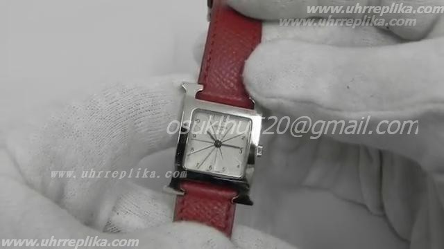 HERMES H Omoto white dial brown leather strap