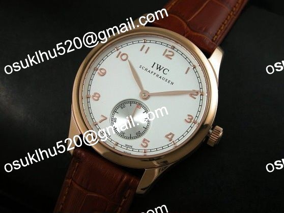 iwc portugese vintage automatic rose gold weiß Asian 2824 brown band