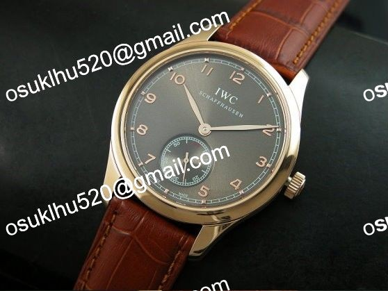 iwc portugese vintage rose gold schweiz 2824 with 28800bp Brown band