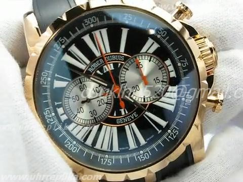 ROGER DUBUIS replica kaufen Excalibur Chronograph Black Dial Rose Gold Case