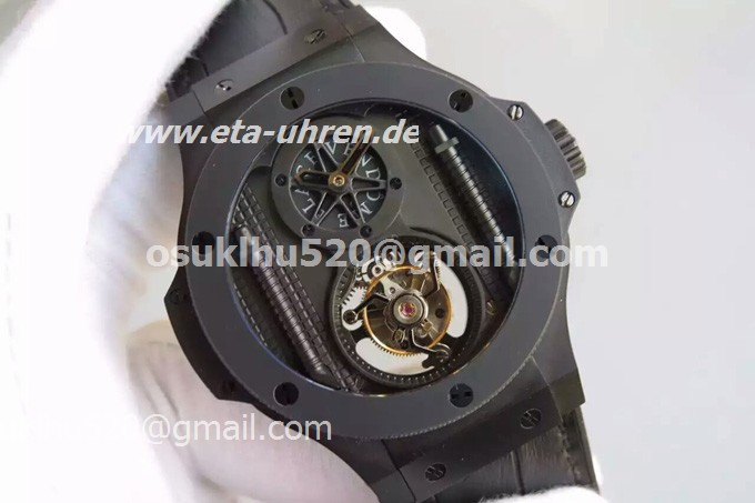 Hublot 705ci0007RX King Power Tourbillon All black große Uhr PVD/Keramik
