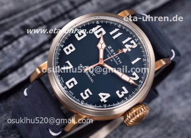 Zenith Heritage Pilot Type 20 Extra Special Bonze Fall blaues Gesicht