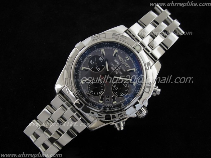 replica breitling watches for men Chronomat B01 V1 Edelstahl Carbon Schwarzes Zifferblatt on Bracele