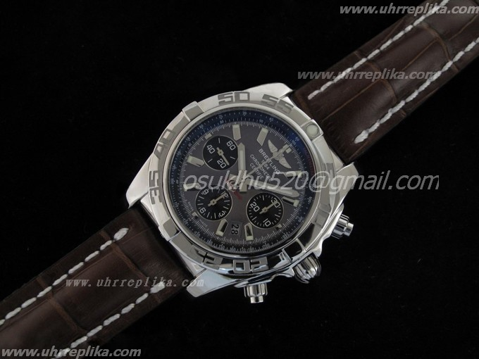 replica breitling watches for men Chronomat B01 V1 Edelstahl Carbon Schwarzes Zifferblatt on Braune