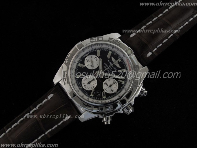 breitling imitate kaufen Chronomat B01 V1 Edelstahl Onyx black stick Zifferblatt on Brown Gummi-Armb