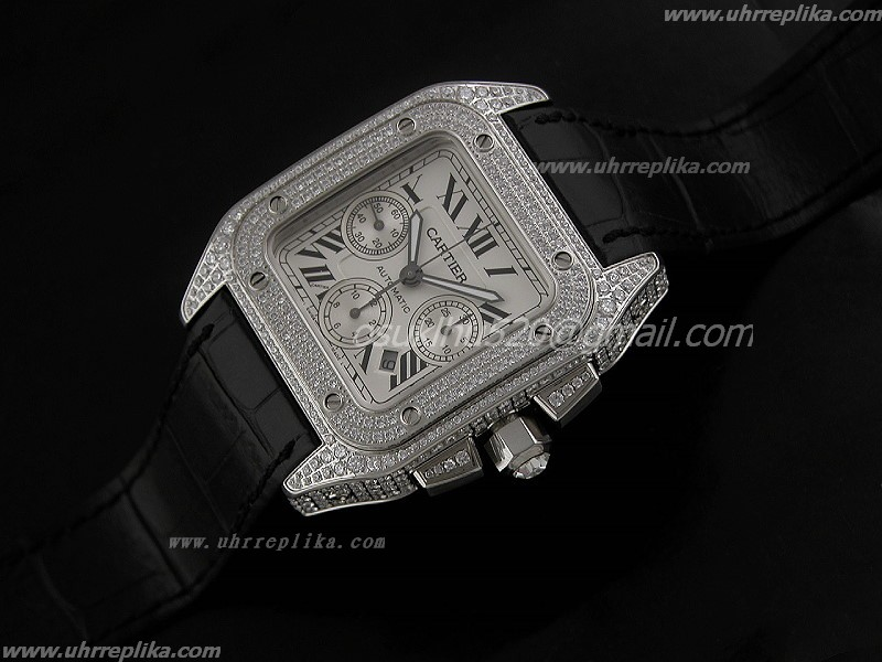 Cartier Santos 100 fake uhren Full Diamanten Automatic