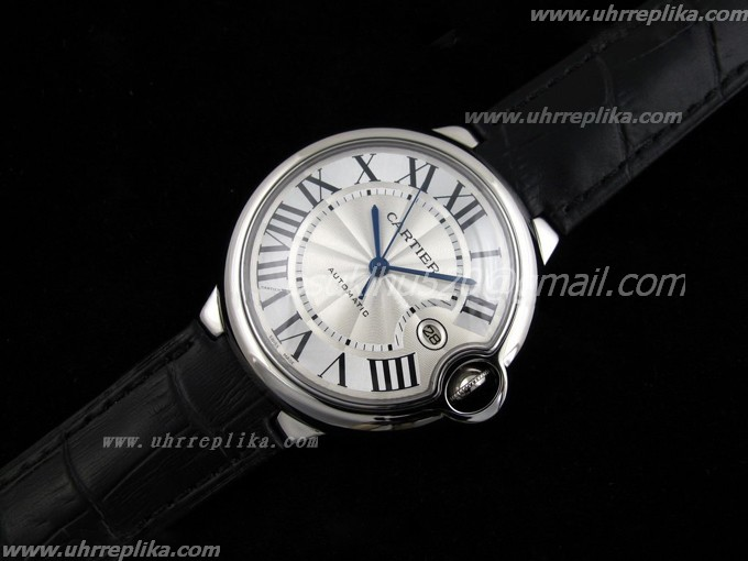 cartier replica china Ballon Bleu Edelstahl on Schwarze Lederarmband ETA2824