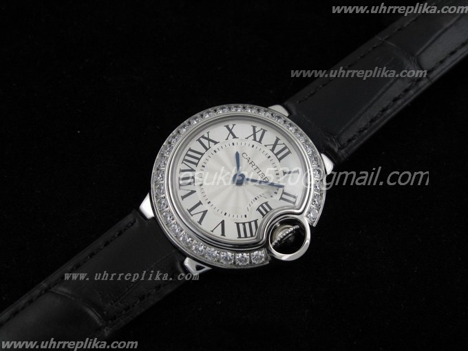 Cartier replica uhren men Ballon Bleu Ladies Schwarze Lederarmband