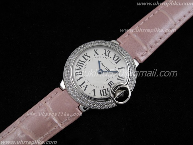 Cartier Ballon Bleu replica Ladies Rosa Lederarmband
