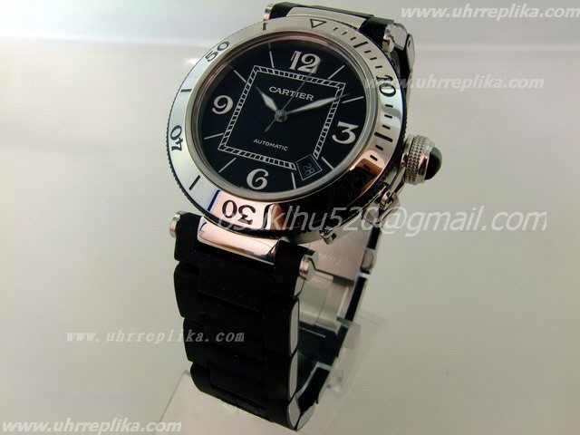 Cartier SeaTimer replica Black Rubber herr armbanduhren