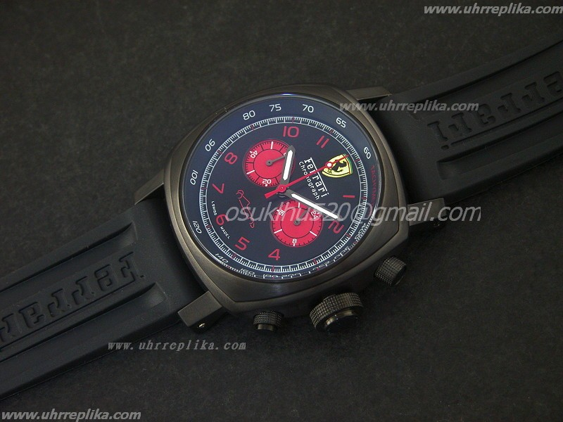 replica ferrari uhren Mens Watch PVD Quartz Black/Rotes Zifferblatt