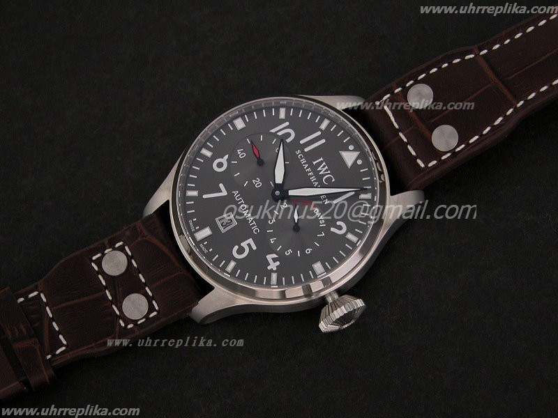 replica iwc pilot watch 2009 47mm Power Reserve Grey