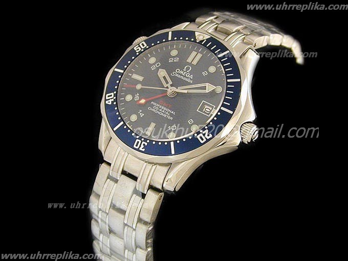 Omega New Red Seamaster blau Swiss Eta 2836-2