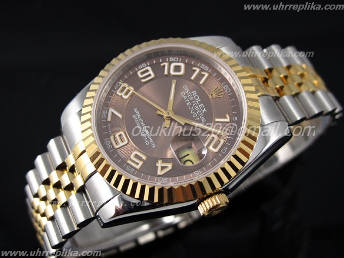 Rolex Datejust 2 36mm men automatic coffee yellow gold 116264 fälschungen uhren
